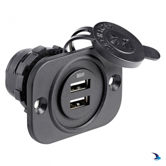 Flush Mount Double USB Socket Black