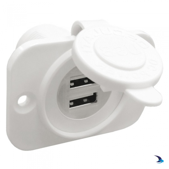 Flush Mount Double USB Socket White