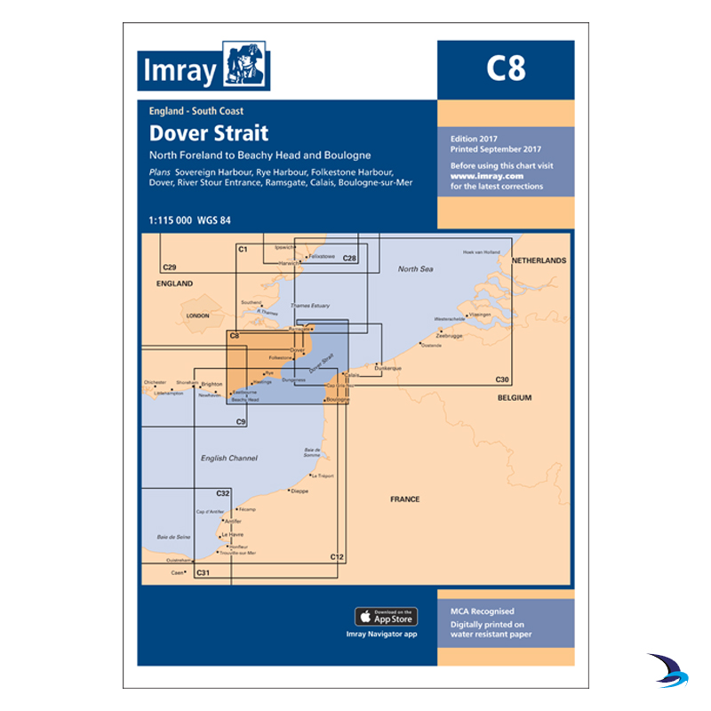Imray - Chart C8 Dover Strait, North Foreland to Beach Head & Boulogne
