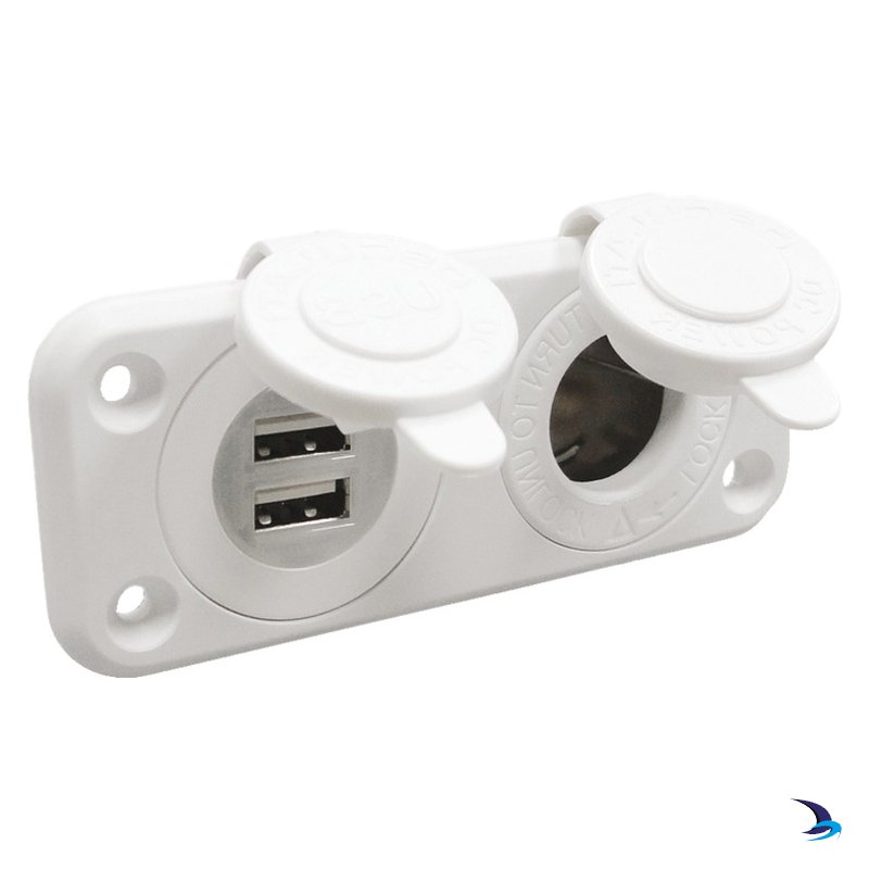 Flush Mount Lighter Socket and Double USB White
